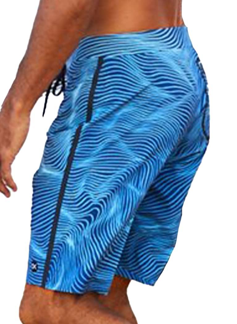 men's swim trunks in blue and black wave pattern