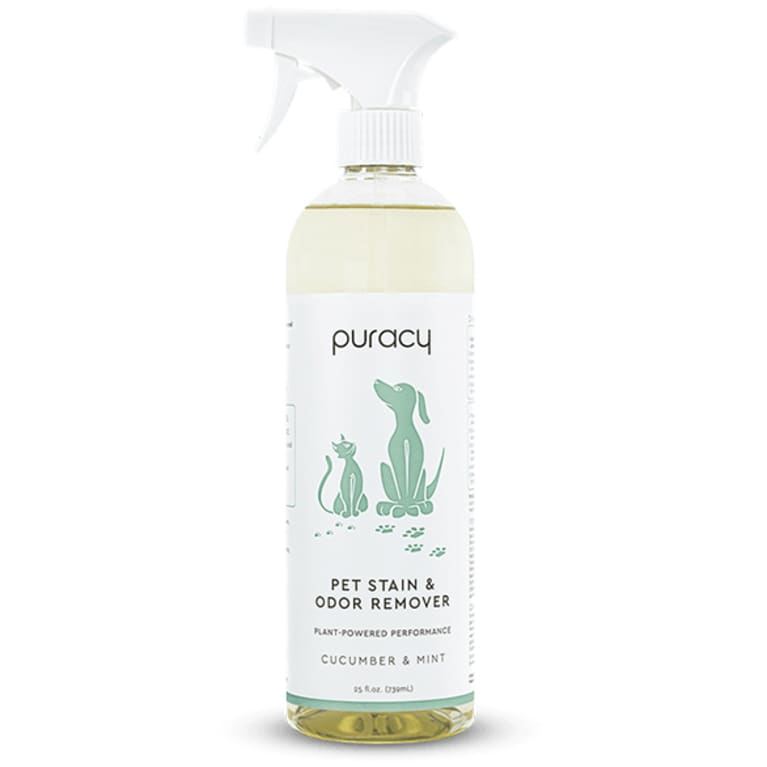 enzyme cleaner in clear bottle with white label