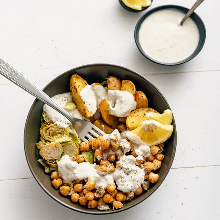 Dill Roasted Chickpeas with Potato Wedges