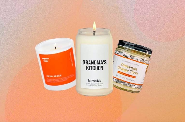 3 candles on orange background