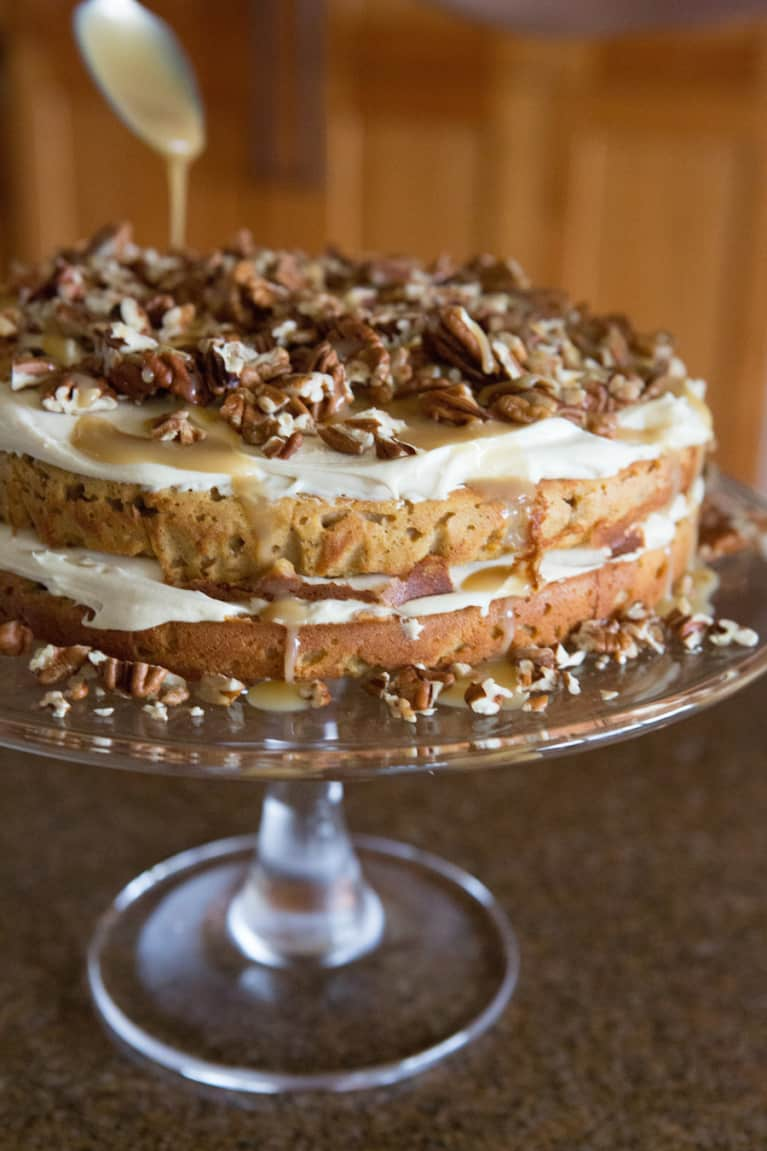 Grain-Free Pumpkin Torte With Cream Cheese Frosting & Caramel