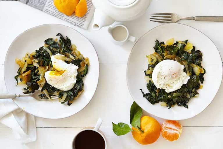 Poached Eggs Over Broth Braised Kale
