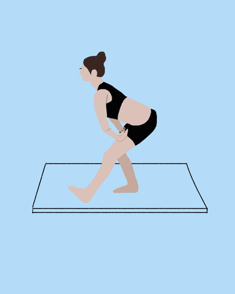 Standing hamstring stretch demonstration
