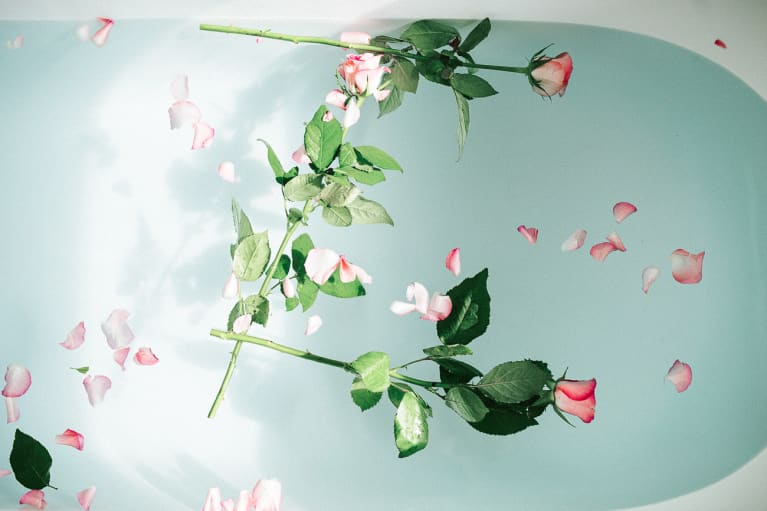 Roses Floating in a Bathtub