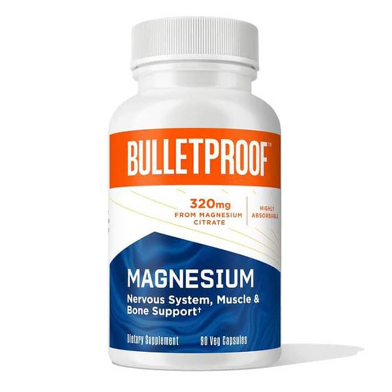 white magnesium supplement bottle with blue and orange label