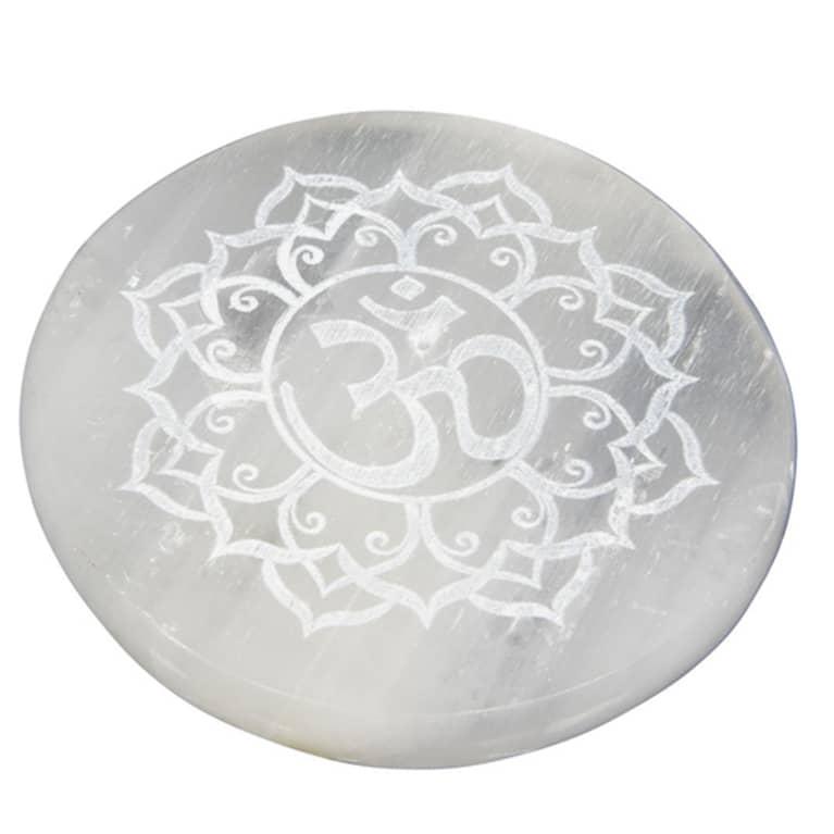 selenite crystal round with om symbol