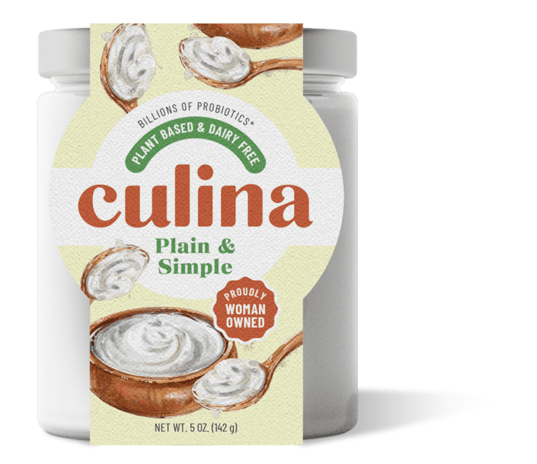 Culina yogurt packaging with a spoonful and bowl full of white yogurt illustrated on the front.