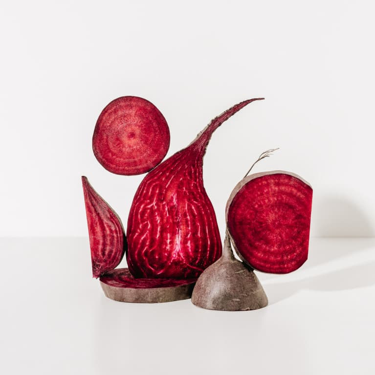 Abstract composition of sliced beets
