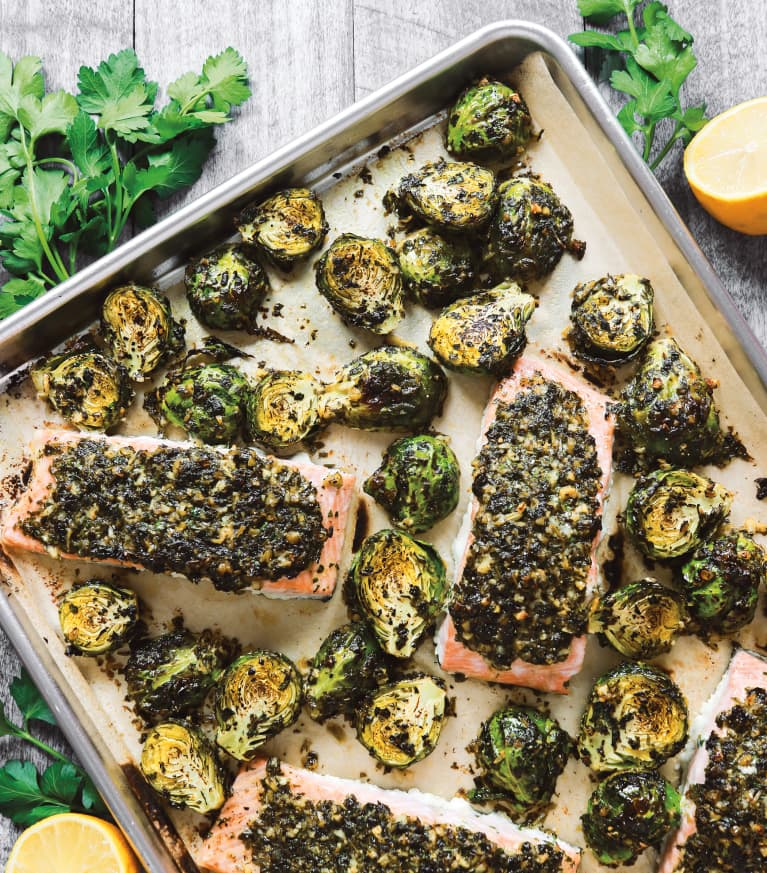 This Keto-Friendly Mediterranean Salmon & Brussel Sprouts