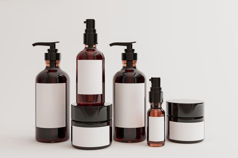 skin care bottles
