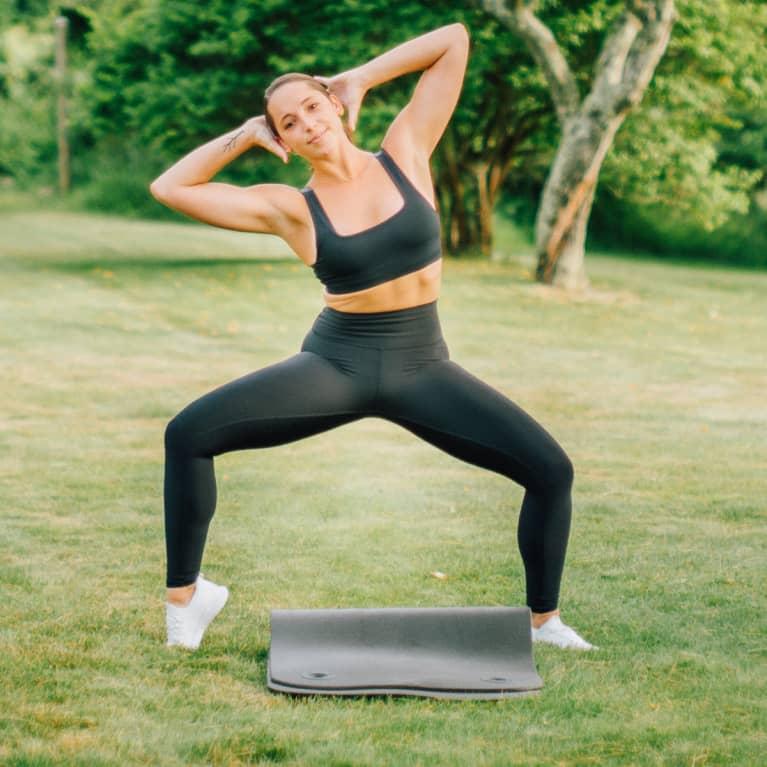 Plie squat with oblique lean