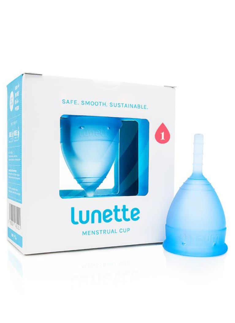 Blue Lunette menstrual cup with packaging