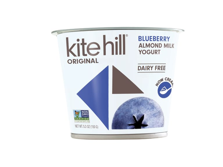 Kite Hill white yogurt container with blueberry on the front.
