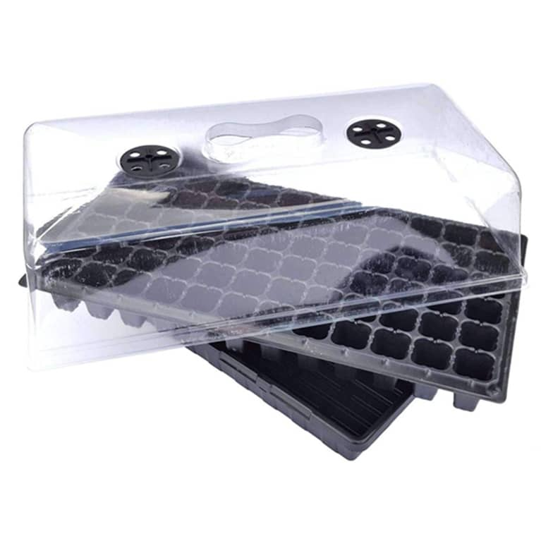 black seed starter tray with clear covering
