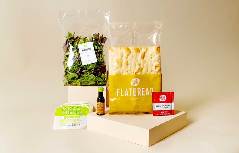 Meal kit components packaged in plastic