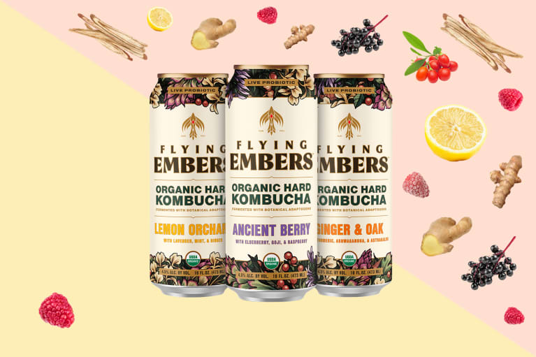 Flying Embers hard kombucha collaged with ingredients