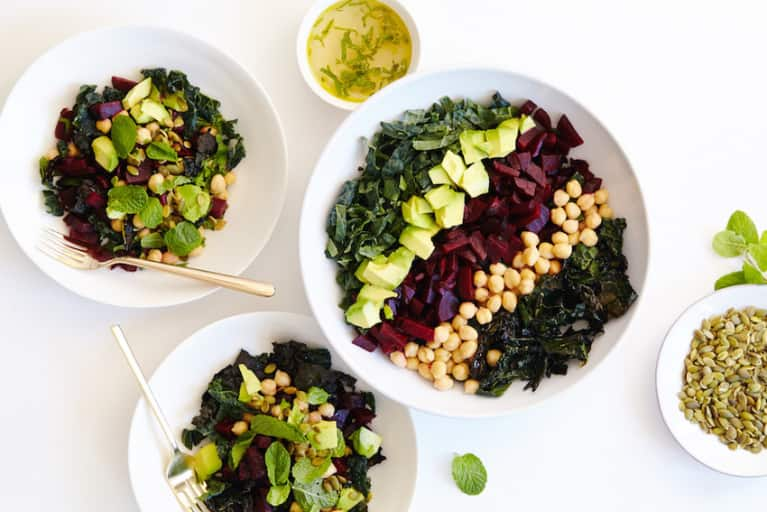 Raw + Roasted Kale + Beet Chopped Salad