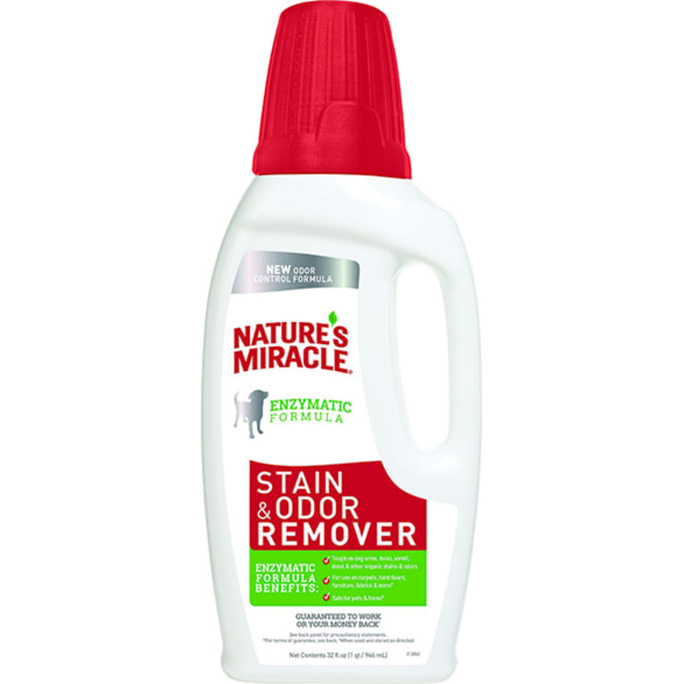 enzyme cleaner in white bottle with red lid and cap