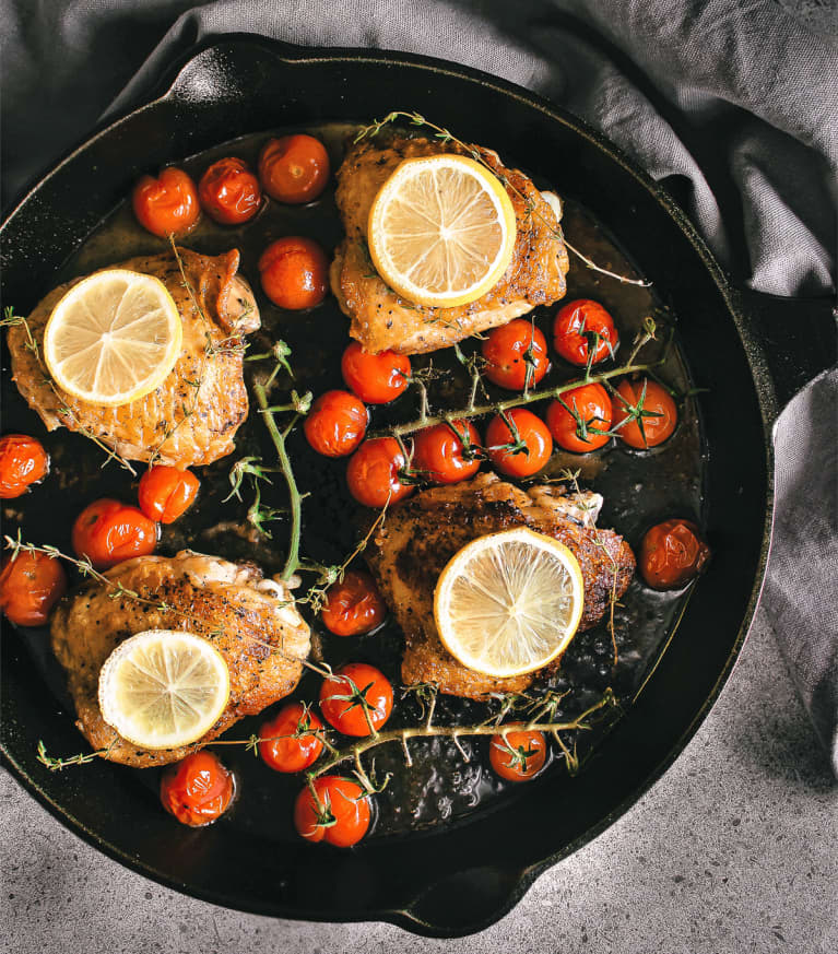 Crispy Lemon and Tomato Thyme Chicken Thighs