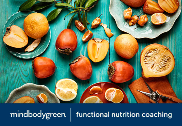Functional Nutrition Coaching shoppable with blue table and cut fruits
