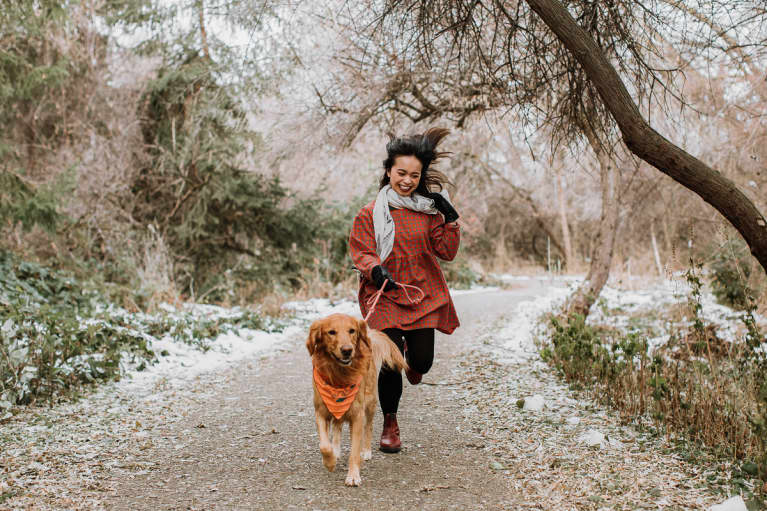 Woman And Dog Running On Snowy Path