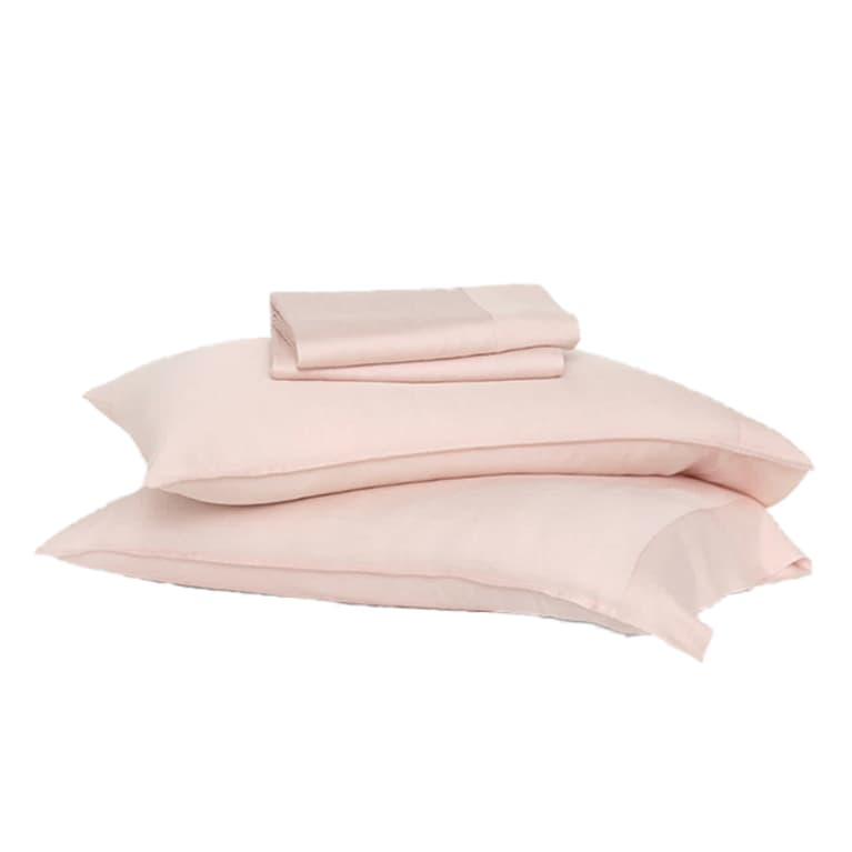 eucalyptus sheet set in light pink