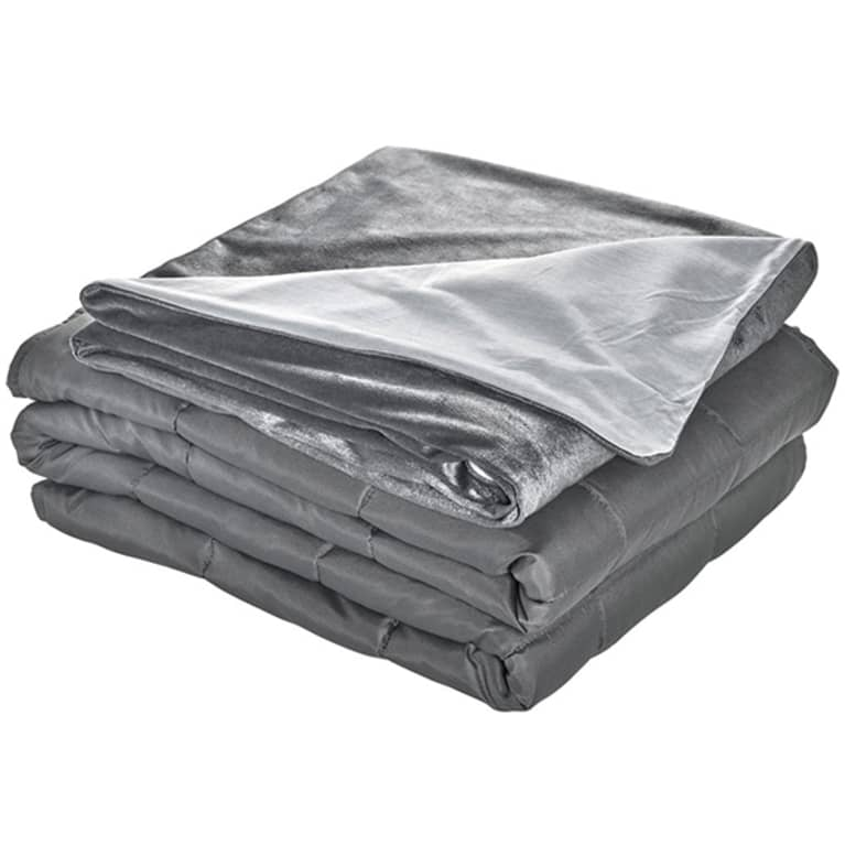 Grey cooling weighted blanket with soft grey cover