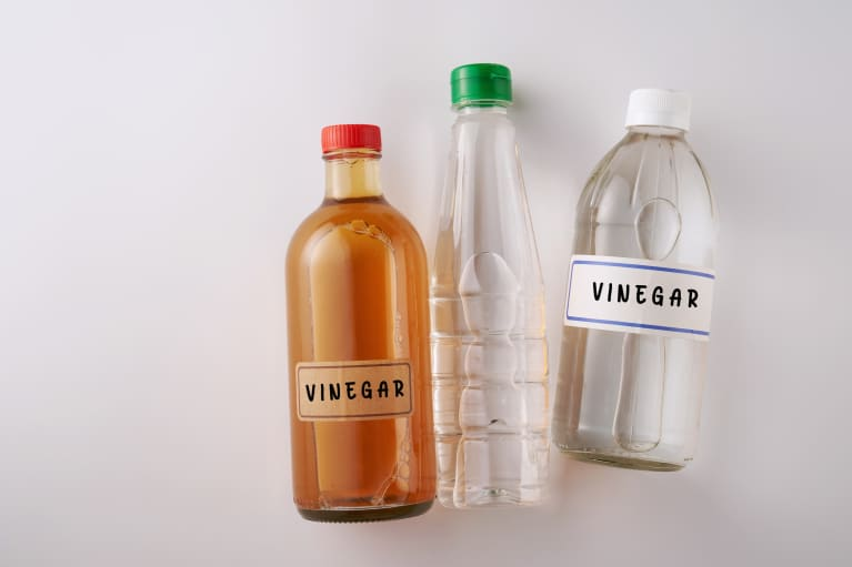 Apple cider vinegar and white vinegar