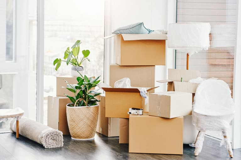 Moving Boxes and Household Items on Moving Day