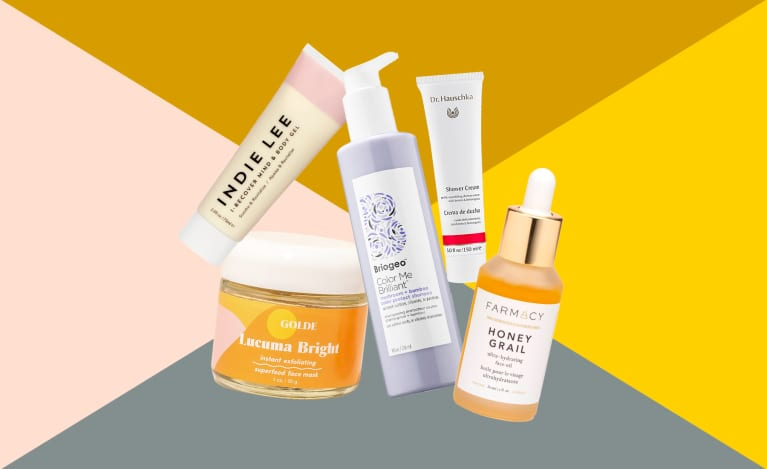 collage of the best new natural and green beauty products from April 2019