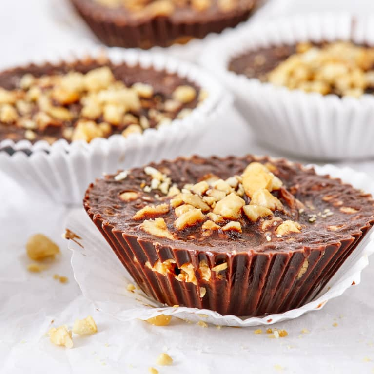A simple recipe of coconut oil, carob powder, peanut butter, and peanuts makes these delicious and healthy chocolate alternative confection.