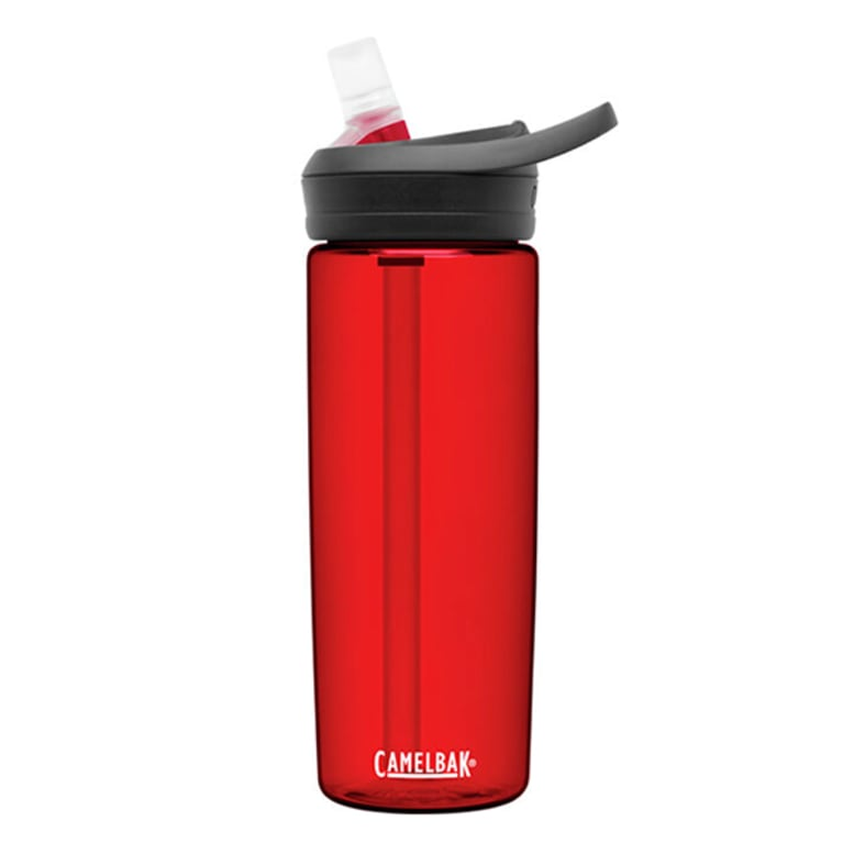 red reusable plastic water bottle with straw