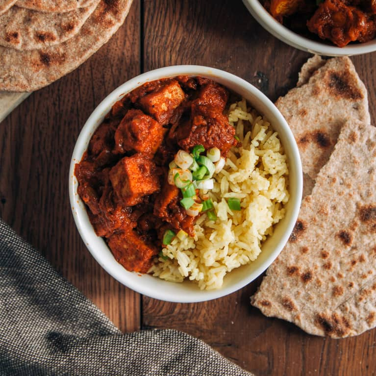 Spicy Curry Tofu With Rice And Garlic Chapati
