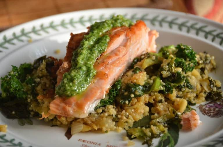 Pan-Seared Wild Salmon & Sunflower-Dill Pesto