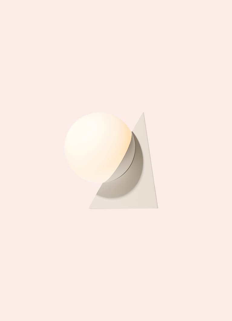 geometrical light, beige triangle with large circular bulb from gantri