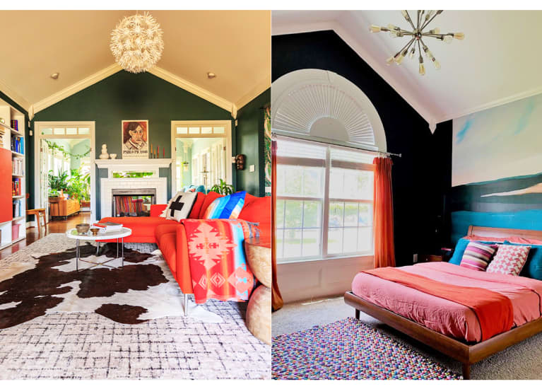 living room with multiple rugs and a bright red couch