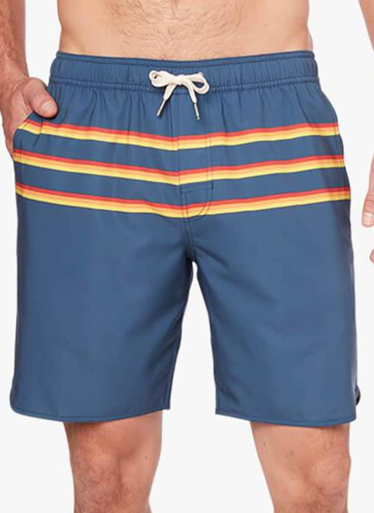 men's swim trunks in dark blue with red and yellow stripe