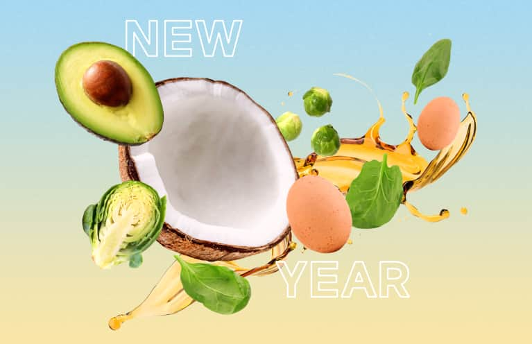 collage of healthy foods and oils for the new year