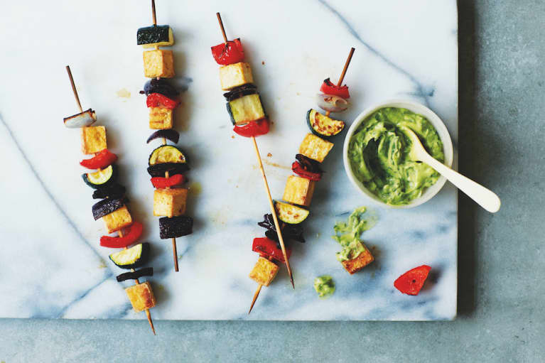 Grilled Tofu Skewers With Green Goddess Sauce