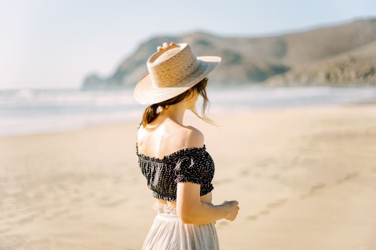 Woman in a Sun Hat on the Beach