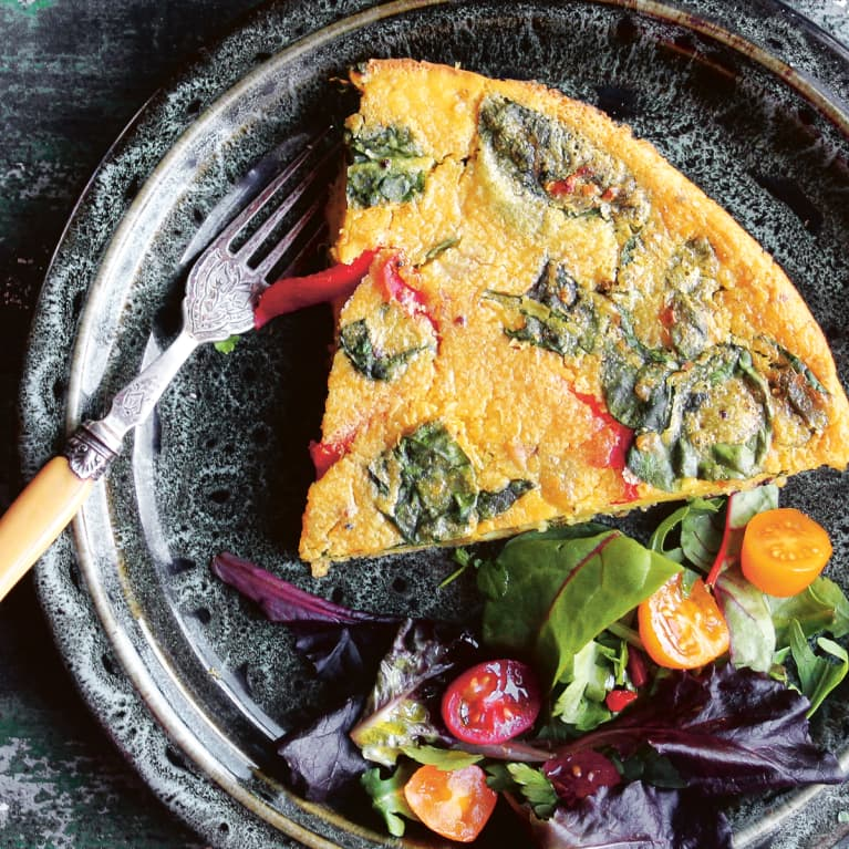 Vegan Frittata with Side Salad of Greens and Grape Tomatoes