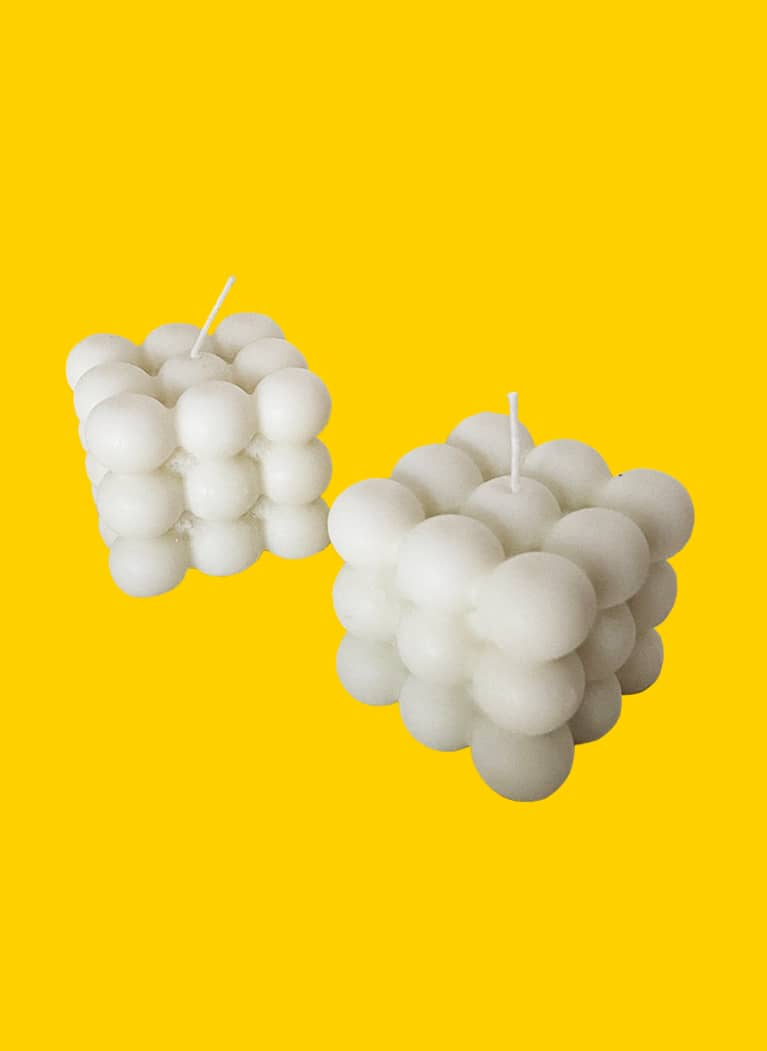 white bubble cube candle