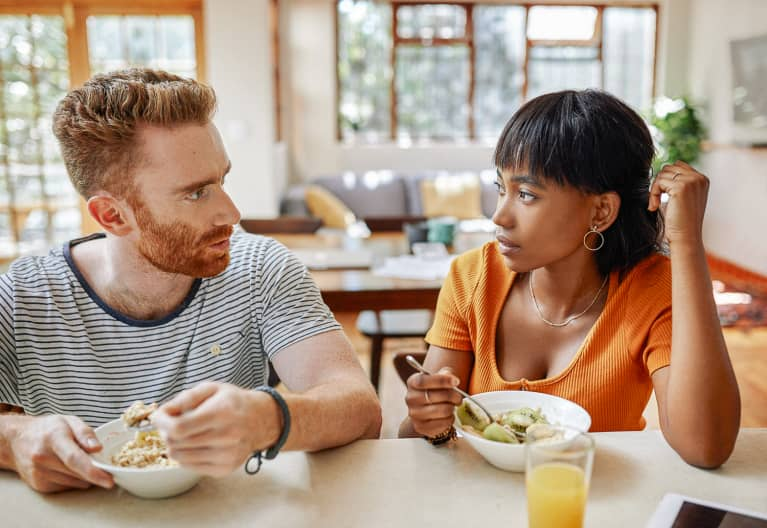 Tense Couple Eating Breakfast Together