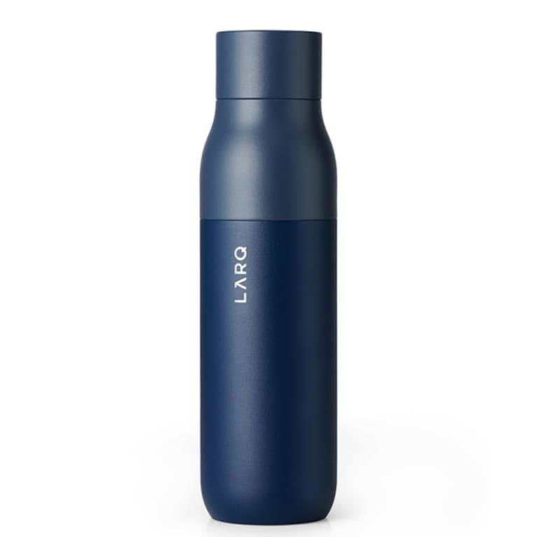 sleep dark blue water bottle with minimalist lid design