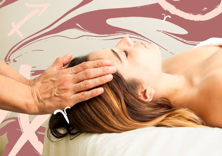 woman getting craniosacral therapy with zodiac astrology signs
