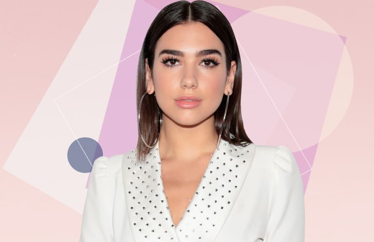 Dua Lipa over geometric background