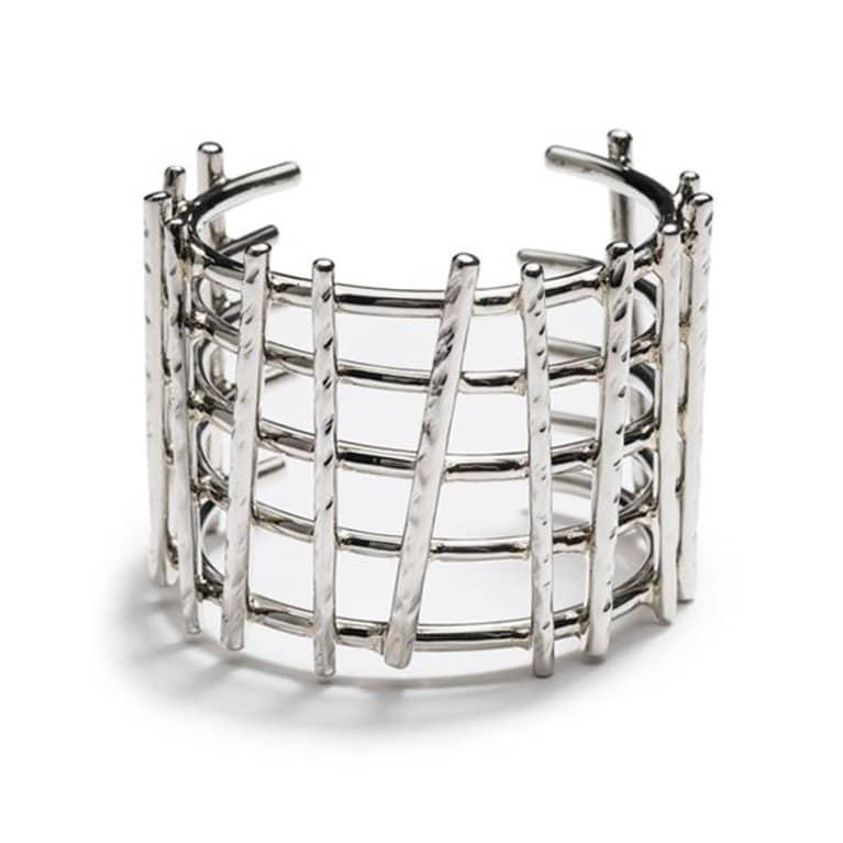 chunky silver cuff in webbed pattern