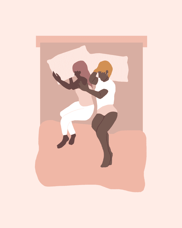 Illustration of a popular couples sleeping position.