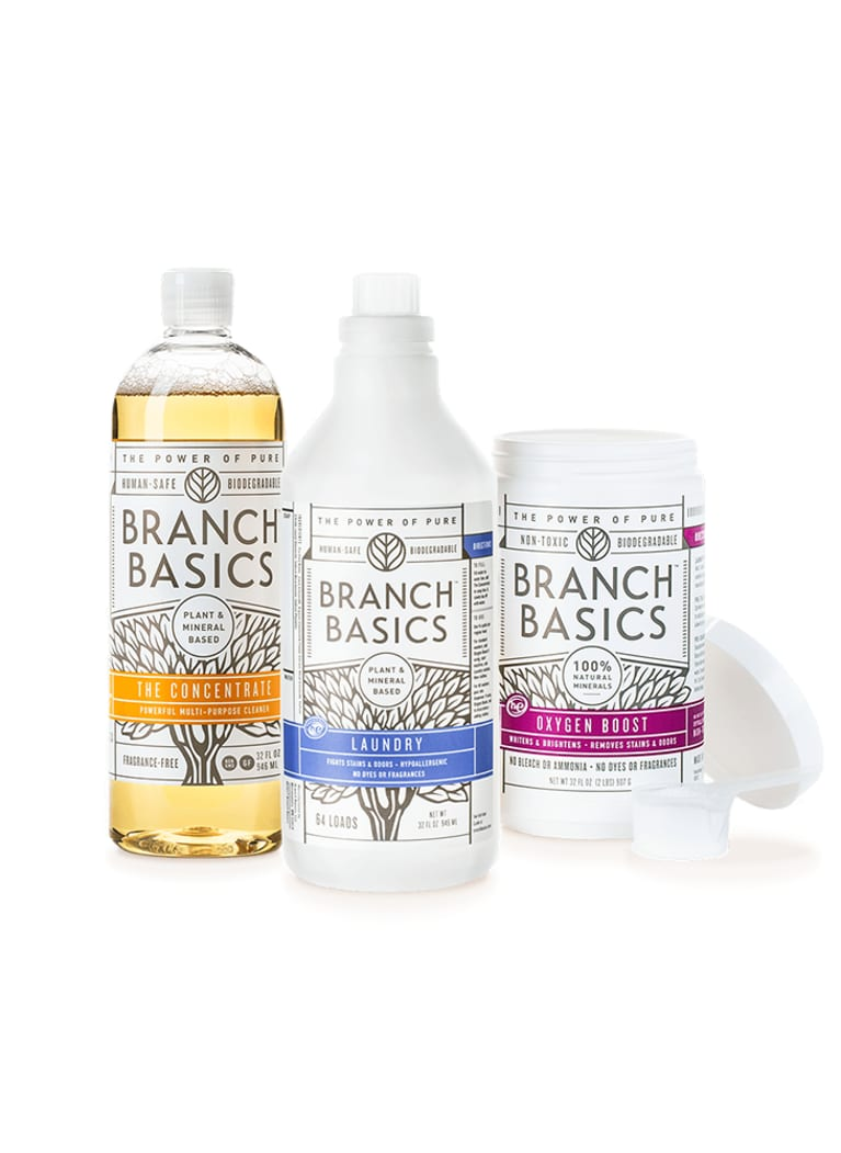 Branch Basics laundry concentrate and oxygen boost bottles