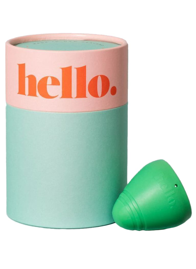 Low cervix green menstrual cup with packaging